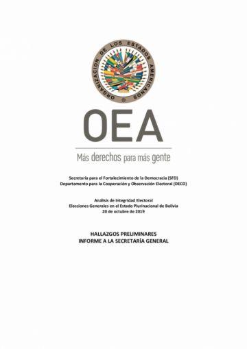 OEA detectó falsificación de actas y manipulación de magnitud del sistema