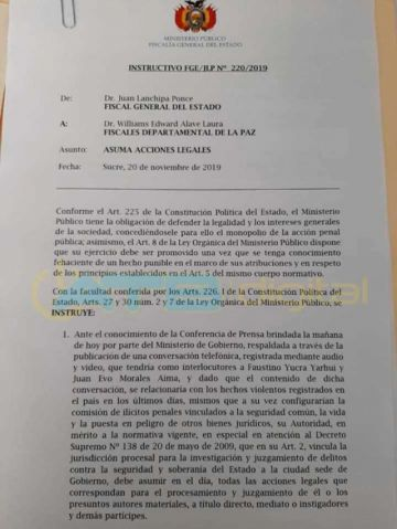 Fiscalía emprende investigación contra Evo Morales por el video de presunta sedición