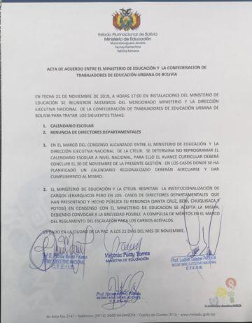 Maestros urbanos esperan confirmar renuncia de Morales y director afirma que no renunció