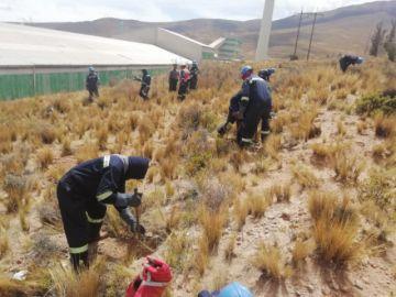 Funcionarios de la Gobernación y de Karachipampa preparan terreno para plantar árboles