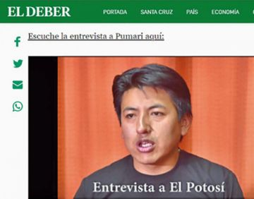 Entrevista de El Potosí a Pumari es tomada por medios nacionales