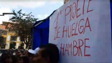 Se instala huelga de hambre de salubristas