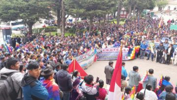 Campesinos celebraron 10 años del Estado sin la imagen de Evo