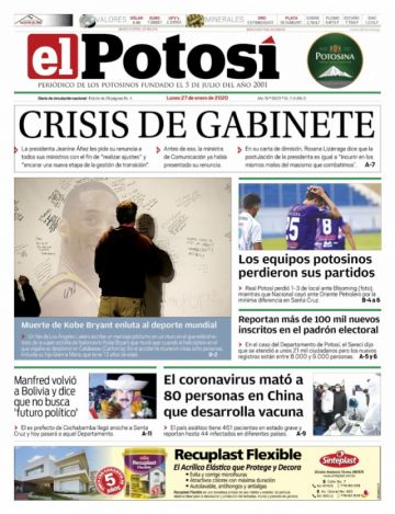 La crisis de gabinete y Kobe Bryant copan las portadas al inicio de semana