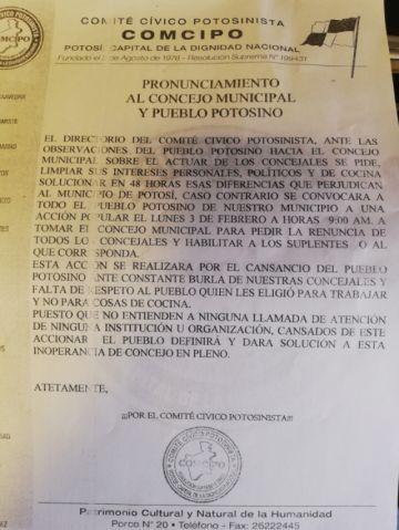 Comcipo advierte toma del Concejo Municipal de Potosí