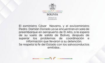 El Gobierno comunica que Navarro y Dorado ya están en preembarque