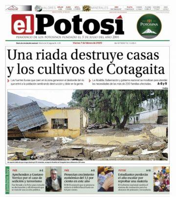 La riada de Cotagaita también inunda las tapas de los diarios nacionales