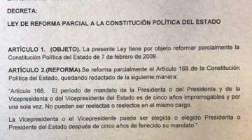 Parlamentarias presentan un proyecto de ley para eliminar la reelección