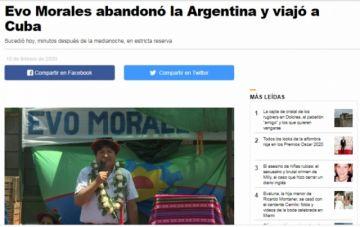 Reportan que Evo Morales se fue a Cuba