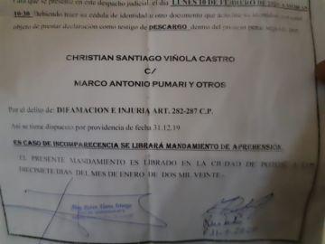 Prosigue juicio penal contra Marco Pumari