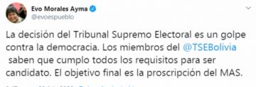 Evo Morales se pronuncia tras el dictamen del TSE