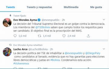 """Morales afirma que el TSE asumió """"decisión política"""""""