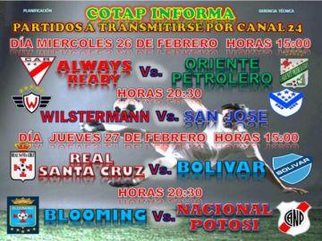 Cotap trasmitirá partidos del torneo apertura