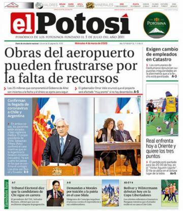 El coronavirus también acorrala las portadas de los diarios bolivianos