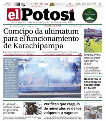 Incidentes de El Alto se sobreponen al coronavirus en las portadas