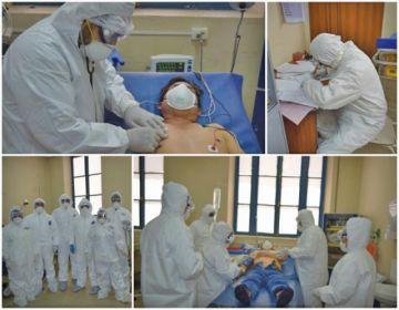 Evalúan el simulacro de  coronavirus en el hospital Bracamonte