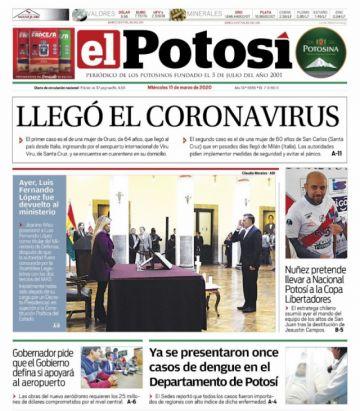 El coronavirus llega con fuerza a las primeras páginas