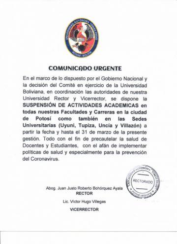 UATF suspende clases hasta el 31 de marzo