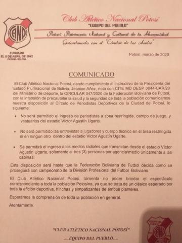 Nacional Potosí emite disposiciones para el partido de mañana