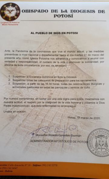Iglesia católica suspende misa dominical en prevención del COVID-19