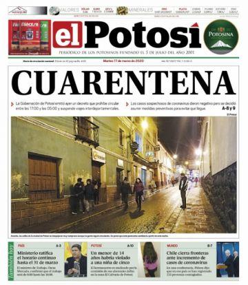 Diarios muestran cómo se paraliza Bolivia por el coronavirus
