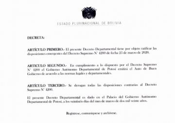 Decreto de la Gobernación se somete al decreto presidencial