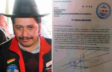Urquizu formaliza su renuncia al cargo de Gobernador de Chuquisaca