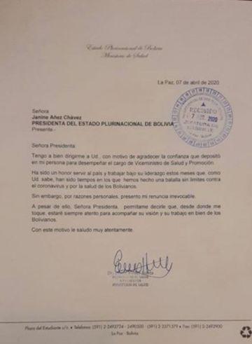 Erwin Viruez presenta su renuncia al cargo de viceministro de Salud