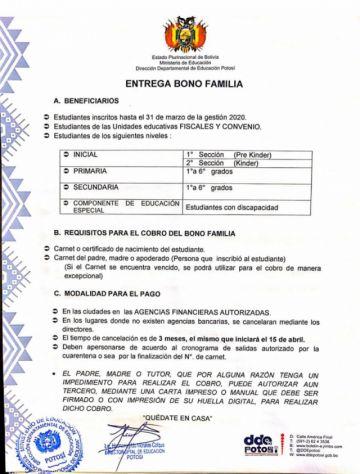 """Emiten modalidad de pago del """"Bono Familia"""""""