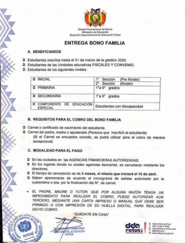 """El """"Bono Familia"""" se pagará a partir del 15 de abril en Potosí"""