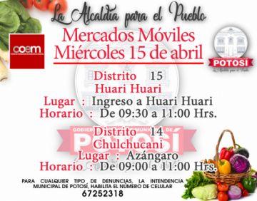 Miraflores y Tarapaya tendrán mercados móviles mañana