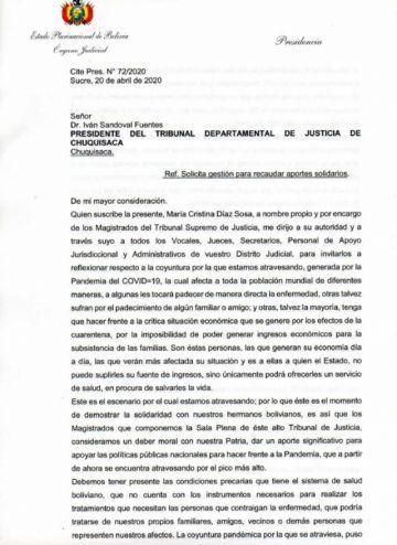 Tribunales Departamentales de Justicia se niegan a aportar para familias afectadas por el COVID-19