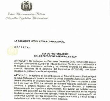 Ley de Postergación de Elecciones pasa a fase de demandas legales