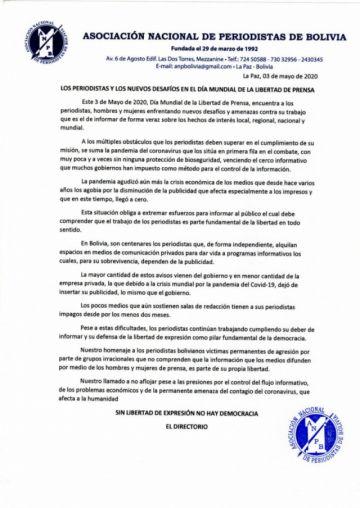 Asociación de Periodistas ratifica defensa de Libertad de Prensa
