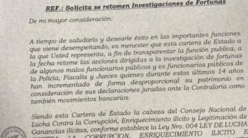 Murillo pide retomar investigación de fortunas de expolicías, jueces y fiscales