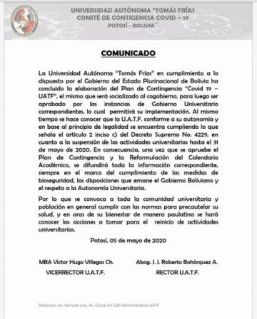 UATF cumple cuarentena total hasta el 31 de mayo