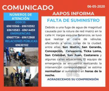 Reparan una fuga de agua de magnitud en la calle H Vargas y Betanzos