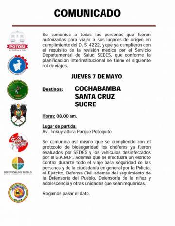 Este jueves  parte un nuevo grupo de viajeros a Sucre, Cochabamba y Santa Cruz
