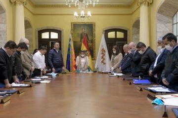 Áñez anuncia que con la donación del salario de ministros se comprarán insumos médicos