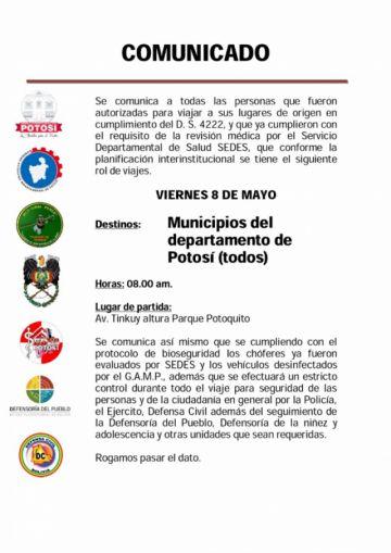 Este viernes parten los viajeros a municipios de Potosí