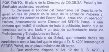 Codesa pide al Ministerio de Salud intervenir el Sedes