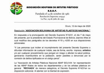 Artistas plásticos de Bolivia  piden derogar DS 4231