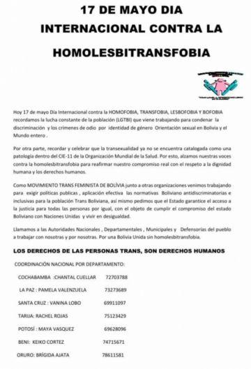 El colectivo TLGB Potosí recuerda Día Internacional contra la Homofobia y la Transfobia