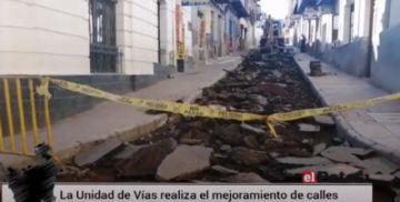 Unidad de Vías realiza tareas para la mejora de calles de Potosí