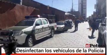 Sedes desinfecta vehículos policiales diariamente