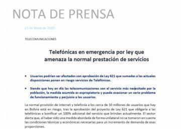 Telefónicas se declaran en emergencia por ley que  amenaza la normal prestación de servicios