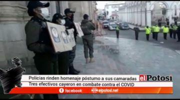 Policía rindió homenaje a los tres policías caídos por coronavirus
