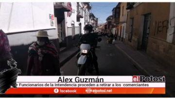 La Intendencia en Potosí retira comerciantes después de mediodía