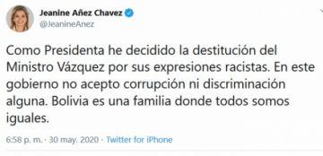 Presidenta Áñez destituye al ministro de Minería