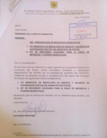 Concejala reitera solicitud de tratamiento de descuento impositivo en Potosí